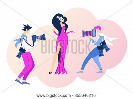 Famous Glamour Actress Superstar Posing Red Carpet For Paparazzi. Young Woman Character Award Ceremo