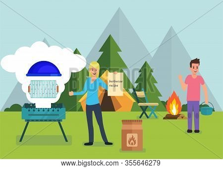 Barbeque Equipment And Forest Camping Promo Banner Vector Illustration Happy Couple Family Using Mod