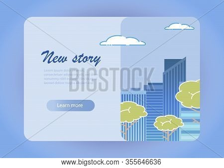 City Background Horizontal Banner Vector Illustration. New Story Landing Page Website. Modern Town S