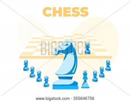 Chess Banner. Cartoon Chess-horse With Pawns, King In Range. Flat Board, One Chess-piece On It. Logi