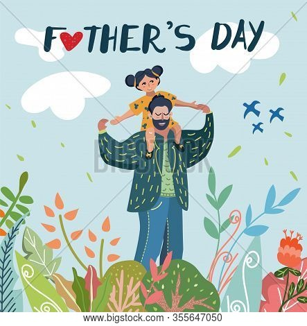 Fathers Day Vector Illustration For Greeting Card, Banner, Poster. Smiling Dad With Beard And Mustac