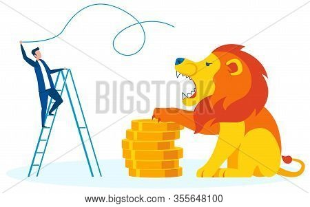 Hardships Earning Cash Cartoon Vector Metaphor. Huge Lion Guarding Pile Of Gold Coins. Man Taming An