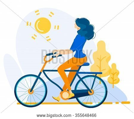 Informative Poster Country Bike Ride Cartoon. Banner Girl Rides Bicycle In Summer In Countryside. Ac