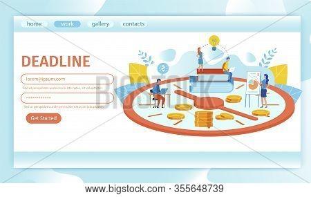 Landing Page Is Written Deadline Cartoon Flat. Good Time Planning Brings Positive Financial Result.