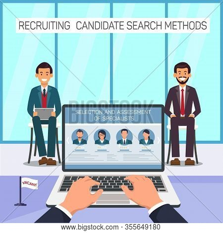 Two Men Sitting In Front Employer. Selection And Assessment Of Specialists. Recruiting Candidate Sea