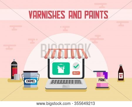 Varnishes And Paints Building Materials Flat Vector Advertising Banner Online Shop Chemicals Wall Fl