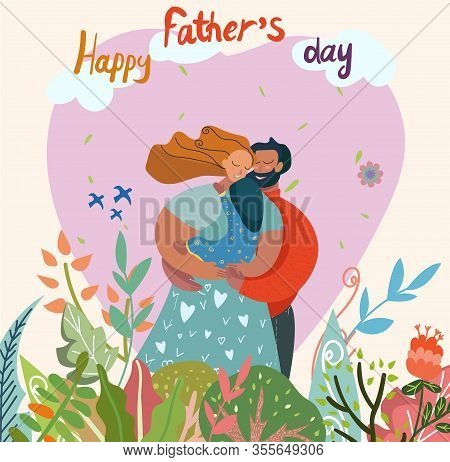 Happy Fathers Day Greeting Card Vector Illustration. Peaceful Smiling Character Standing Outdoor. Mo
