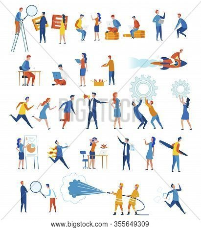 Set Employees Meet Deadlines Vector Illustration. Punctual People Try To Get Job Done On Time. Offic