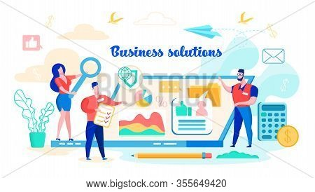 Vector Illustration Business Solutions, Flat. Woman Holding Magnifier. Men Discuss Chart Diagram. Se