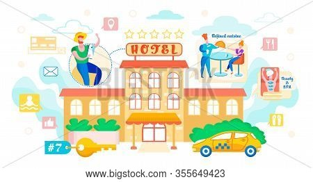 Vector Illustration Booking Hotel Cartoon Flat. In Foreground Beautiful Building With Sign Five Star