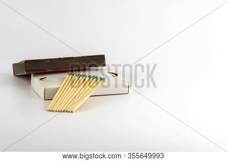 Box Of Matches Isolated On A White Background. Background Of Matchstick. Design For International Ma