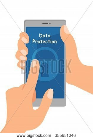 Data Security Software Flat Vector Illustration. Hands Holding Smartphone With Password. Personal In