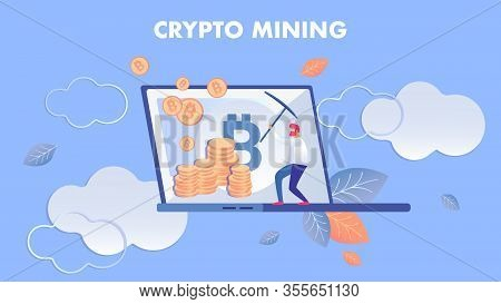 Crypto Mining, E Business Flat Vector Illustration. Man Working With Pickaxe Cartoon Character. Cryp