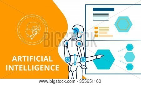 Cyborg Making Presentation Vector Banner Template. Artificial Intelligence Linear Illustration. Comp