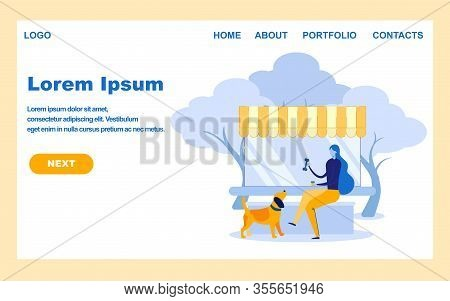 Dog Walking Service Landing Page Vector Template. Young Woman Rest Outdoors With Domestic Animal Car