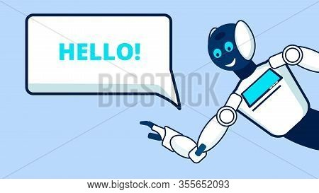 Introducing Robots Flat Vector Banner Template. Smiling Humanoid Saying Hello Cartoon Character. Usi
