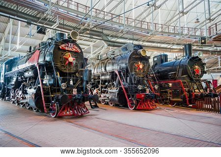 Saint Petersburg, Russia - August 16, 2018: Exposition Of Steam Locomotives In The Museum Of Russian