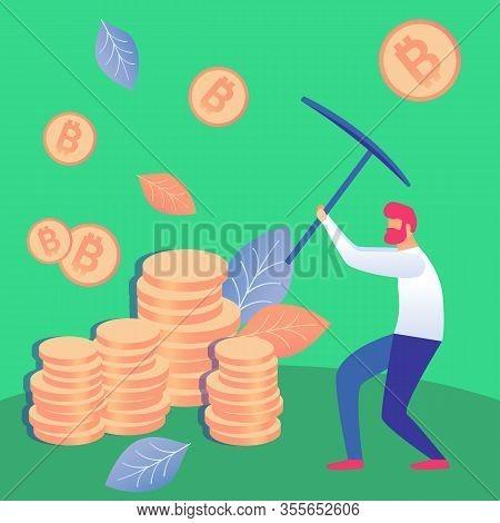 Man Mining Cryptocurrency Flat Vector Illustration. Redhead Crypto Miner Holding Pickaxe Cartoon Cha