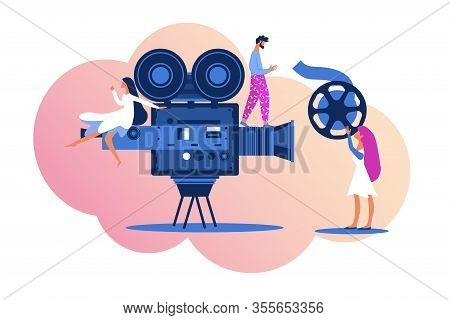 People Creating Film. Group Of Moviemakers Working Together In Film Industry Making New Project For
