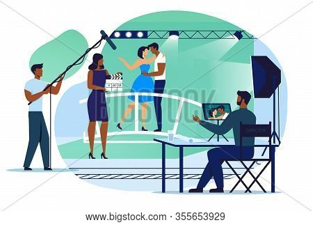 Romantic Film Making Flat Vector Illustration. Sound Engineer, Director And Actors Cartoon Character