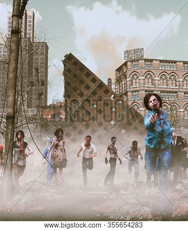 Zombies Horde In Ruined City After An Outbreak,3d Illustration