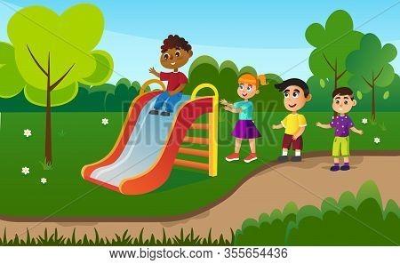 Kids Having Fun On Slide Flat Cartoon Vector Illustration. Little Boys And Girls On Outdoor Playgrou