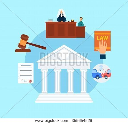Trial Procedure Symbols Flat Vector Illustration. Magistrate In Court Cartoon Character. Witness Tes