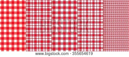 Tablecloth Seamless Pattern. Picnic Plaid Background. Vector. Red Gingham Cloth. Checkered Kitchen T