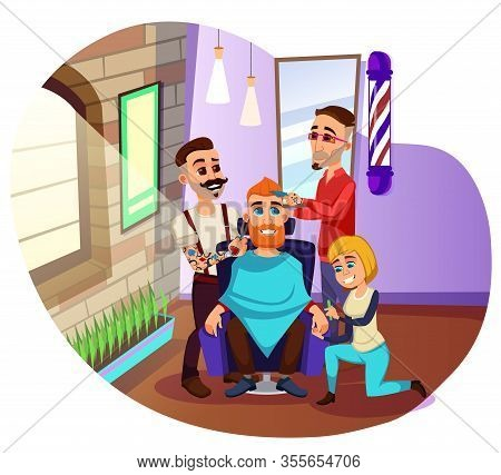 Professional Stylists, Working With Customer In Barbershop All Together And At Once. Red Haired And
