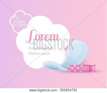 Cotton Hygienic Feminine Products. Super Slim Cotton Pads And Tampon With Applicator Advertisement.