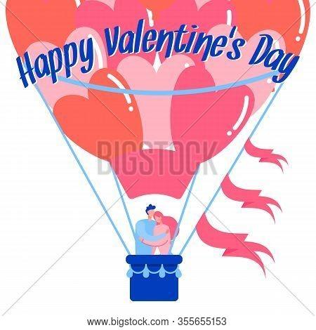 Unique Creative Date Idea Flat Vector Web Banner. Hot Air Balloon Romantic Ride Social Media Post Te