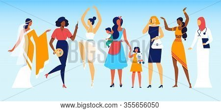 Group Of Young Diverse International And Interracial Women Of Different Professions And Social Statu