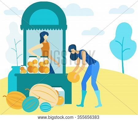 Women Sell Canned And Fresh Fruit In Market. Vector Illustration. Natural Products. Farm Products. H