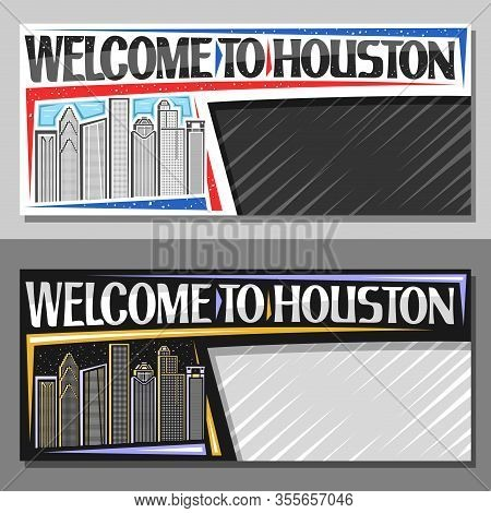 Vector Layouts For Houston With Copy Space, Voucher With Line Illustration Of Contemporary Houston C