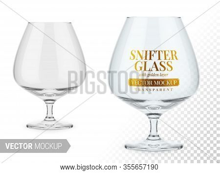 Clear Brandy Snifter Glass. Editable Glass Color. Contains Gold Layer And Accurate Mesh To Wrap Your