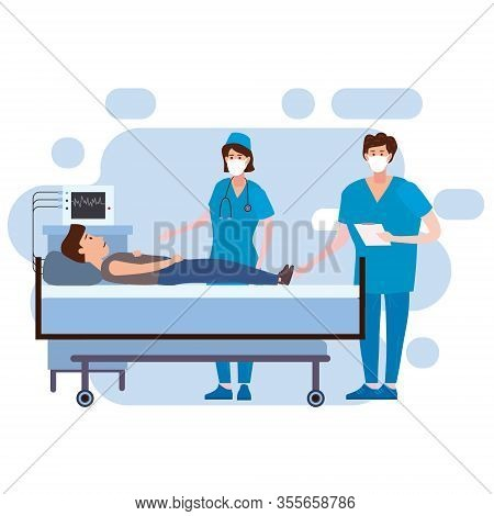 Doctor And Nurse In Antiviral Face Mask And Patient Taking Care Of Patient Health In Hospital Room.