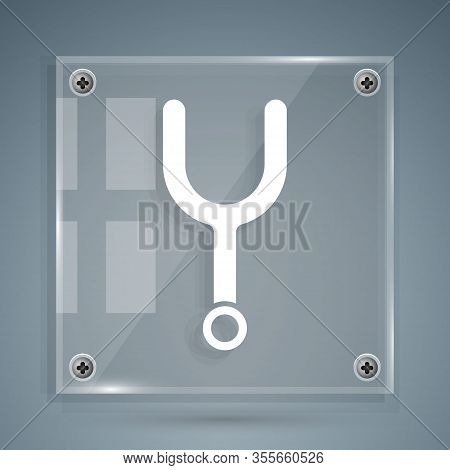 White Musical Tuning Fork For Tuning Musical Instruments Icon Isolated On Grey Background. Square Gl