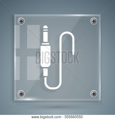 White Audio Jack Icon Isolated On Grey Background. Audio Cable For Connection Sound Equipment. Plug