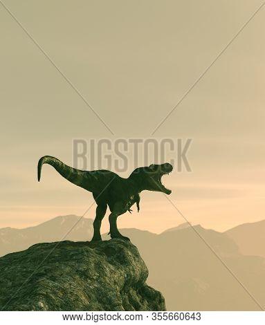 Tyrannosaurus Rex On Top Of The Peak,3d Rendering