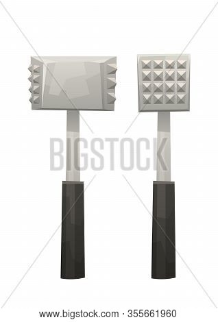 Kitchen Metal Hammer On White Background Vector Isolated