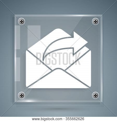 White Outgoing Mail Icon Isolated On Grey Background. Envelope Symbol. Outgoing Message Sign. Mail N