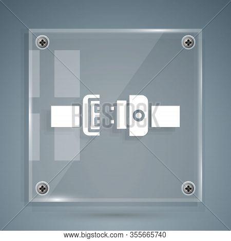 White Safety Belt Icon Isolated On Grey Background. Seat Belt. Square Glass Panels. Vector Illustrat