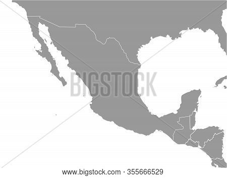 Vector Illustration. Simplified Geographical  Map Of Mexico (united Mexican States) And Nearest Coun