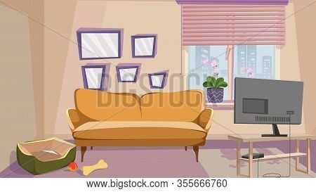 Comfortable Living Room With Beige Wall Interior Vector Illustration. Home With Animal. Dog Bed Pet