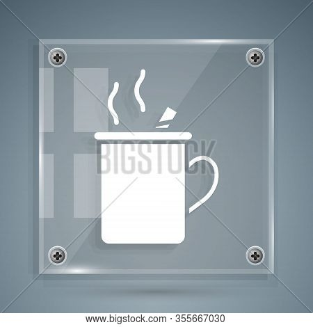 White Mulled Wine With Glass Of Drink And Ingredients Icon Isolated On Grey Background. Cinnamon Sti
