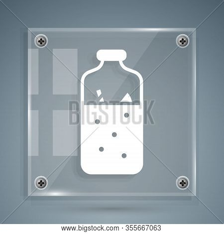 White Mulled Wine With Ingredients Icon Isolated On Grey Background. Cinnamon Stick, Clove, Lemon Sl
