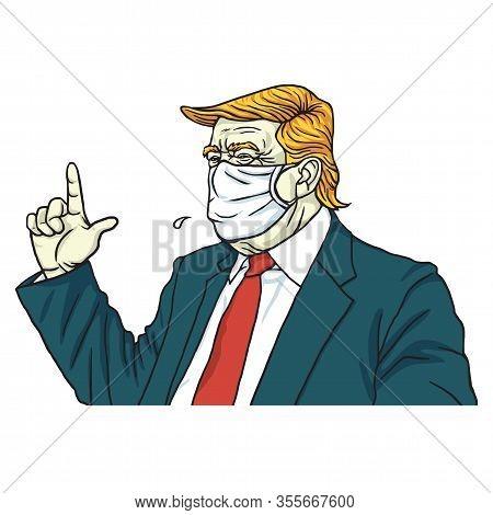 Donald Trump Wearing Surgical Mask Anti Corona Virus Covid 19 Cartoon Vector Drawing Illustration. M