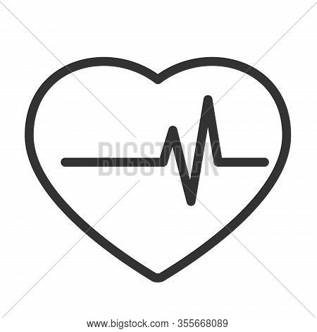 Heart Beat Pulse Outline Vector Icon Isolated On White Background. Heart Pulse Flat Icon For Web, Mo