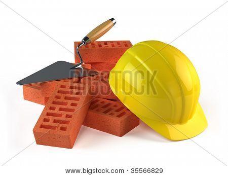 Trowel, Bricks and Construction helmet