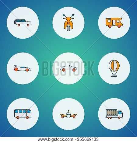 Transport Icons Colored Line Set With Scooter, Campervan, Air Balloon And Other Caravan Elements. Is